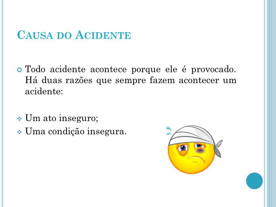 Causa do Acidente Todo acidente acontece porque ele é provocado. Há duas razões que sempre fazem acontecer um acidente: