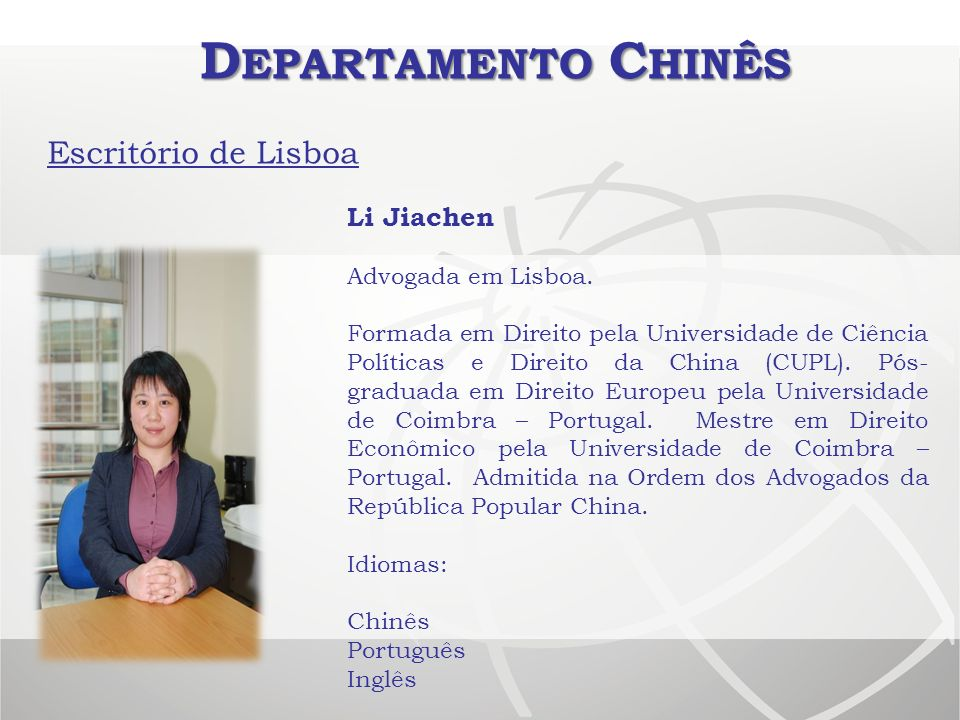 Departamento Chinês Escritório de Lisboa Li Jiachen