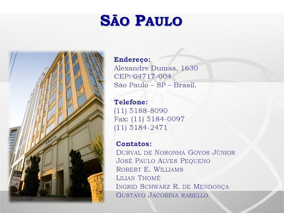 São Paulo Endereço: Alexandre Dumas, 1630 CEP: 04717-004 São Paulo – SP – Brasil. Telefone: (11) 5188-8090 Fax: (11) 5184-0097 (11) 5184-2471.