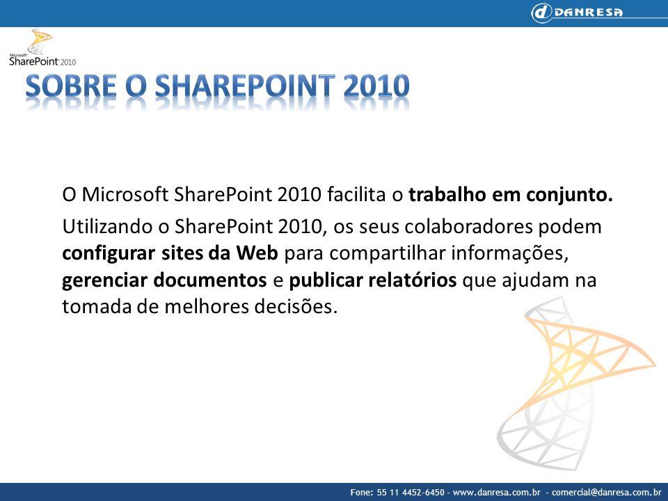 Sobre o sharepoint 2010 O Microsoft SharePoint 2010 facilita o trabalho em conjunto.