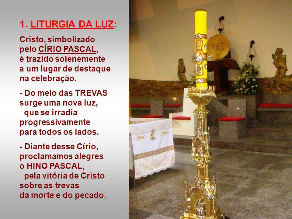 1. LITURGIA DA LUZ: Cristo, simbolizado pelo CÍRIO PASCAL,
