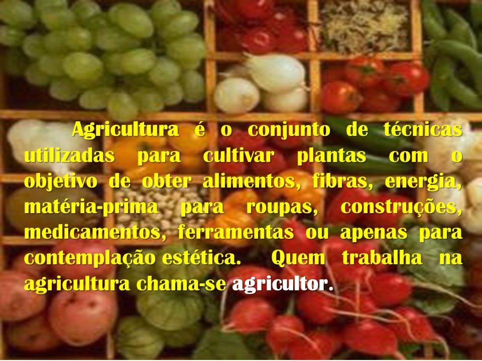 Agricultura é o conjunto de técnicas utilizadas para cultivar plantas com o objetivo de obter alimentos, fibras, energia, matéria-prima para roupas, construções, medicamentos, ferramentas ou apenas para contemplação estética.