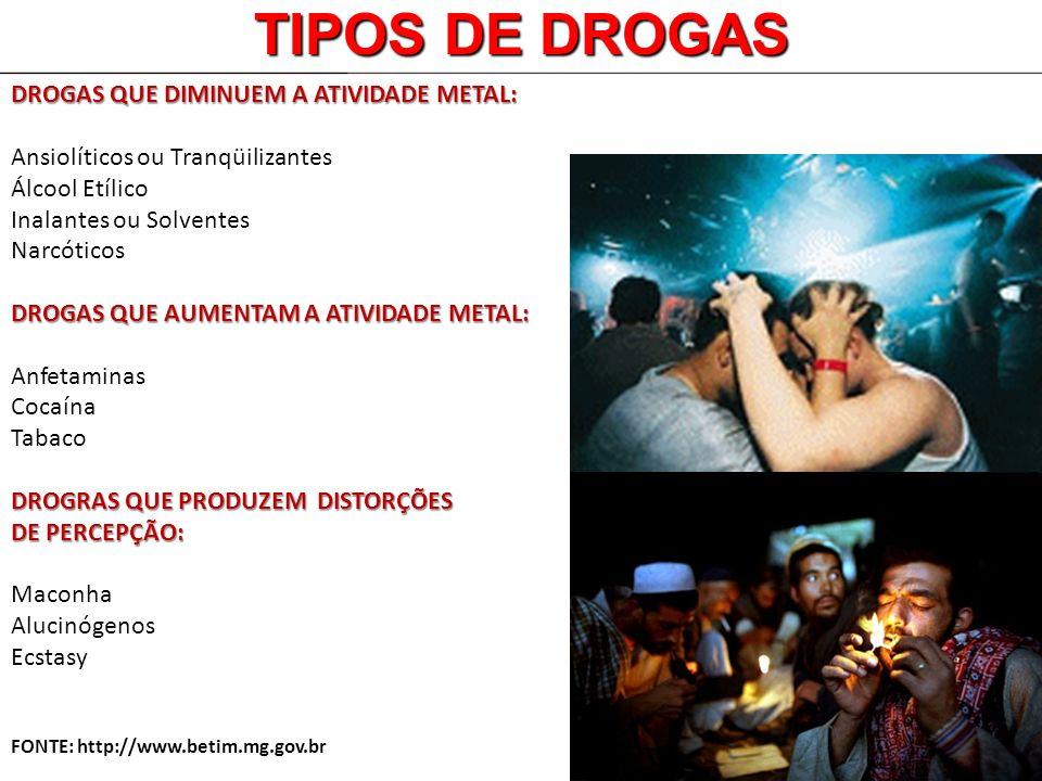 TIPOS DE DROGAS DROGAS QUE DIMINUEM A ATIVIDADE METAL: