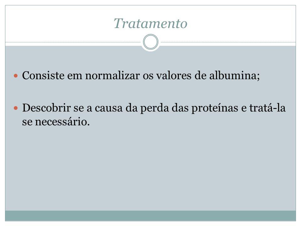 Tratamento Consiste em normalizar os valores de albumina;