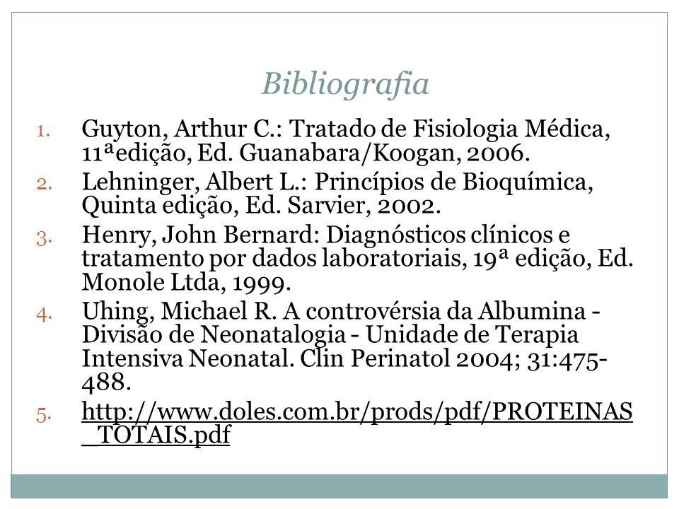 Bibliografia Guyton, Arthur C.: Tratado de Fisiologia Médica, 11ªedição, Ed. Guanabara/Koogan, 2006.