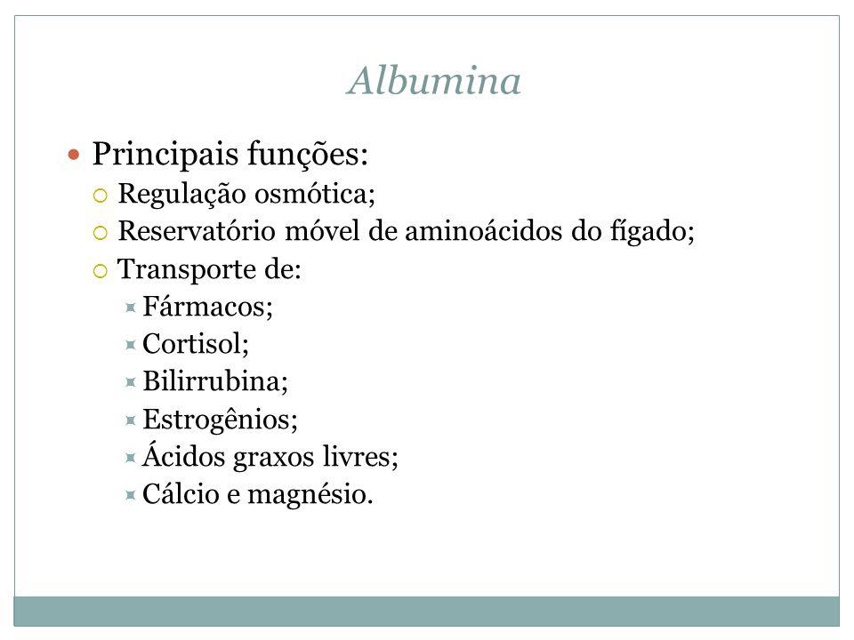 Albumina Principais funções: Regulação osmótica;