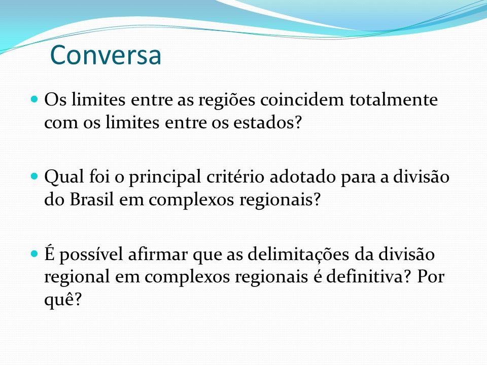 Conversa Os limites entre as regiões coincidem totalmente com os limites entre os estados