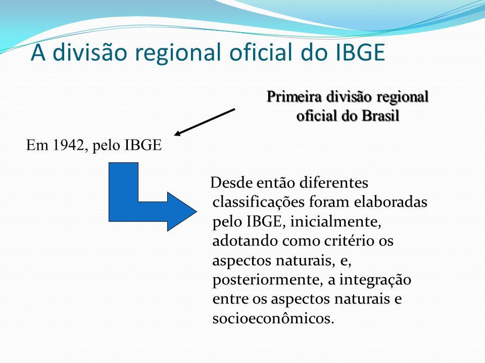 A divisão regional oficial do IBGE