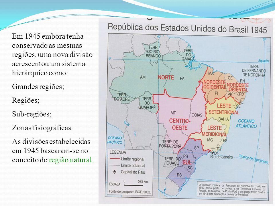 Em 1945 embora tenha conservado as mesmas regiões, uma nova divisão acrescentou um sistema hierárquico como: