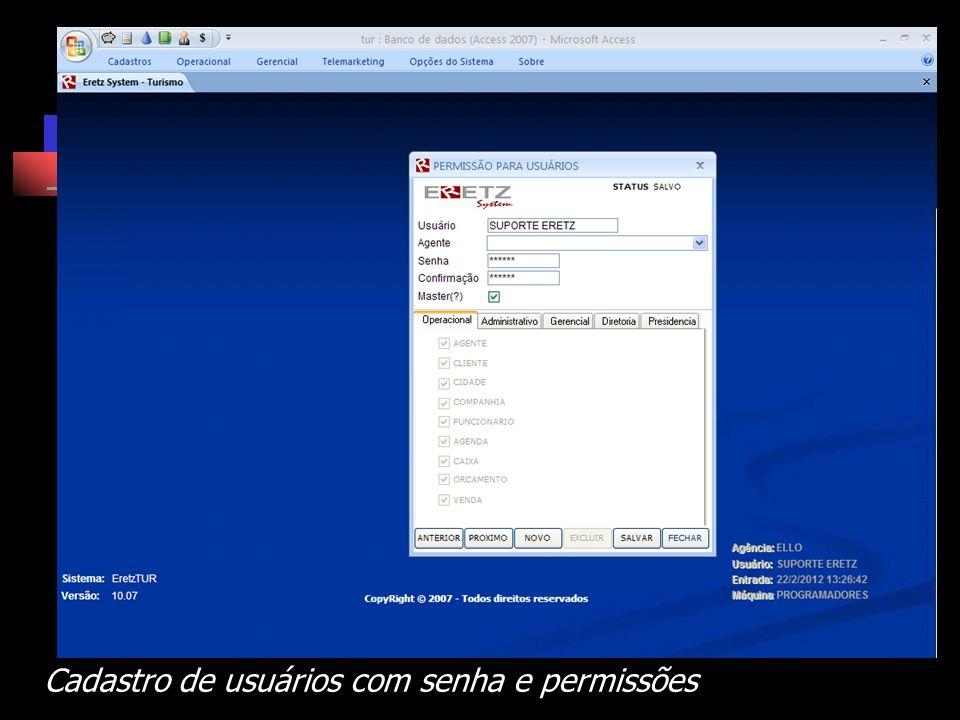Cadastro de usuários com senha e permissões