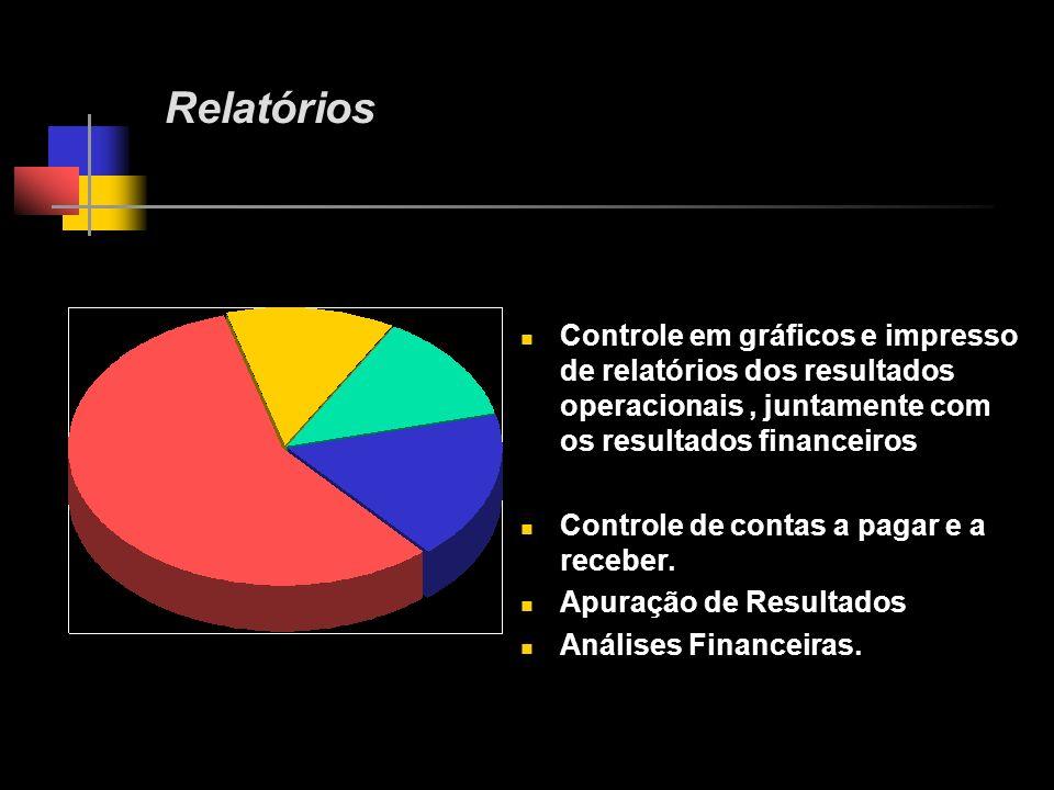 Relatórios Controle em gráficos e impresso de relatórios dos resultados operacionais , juntamente com os resultados financeiros.