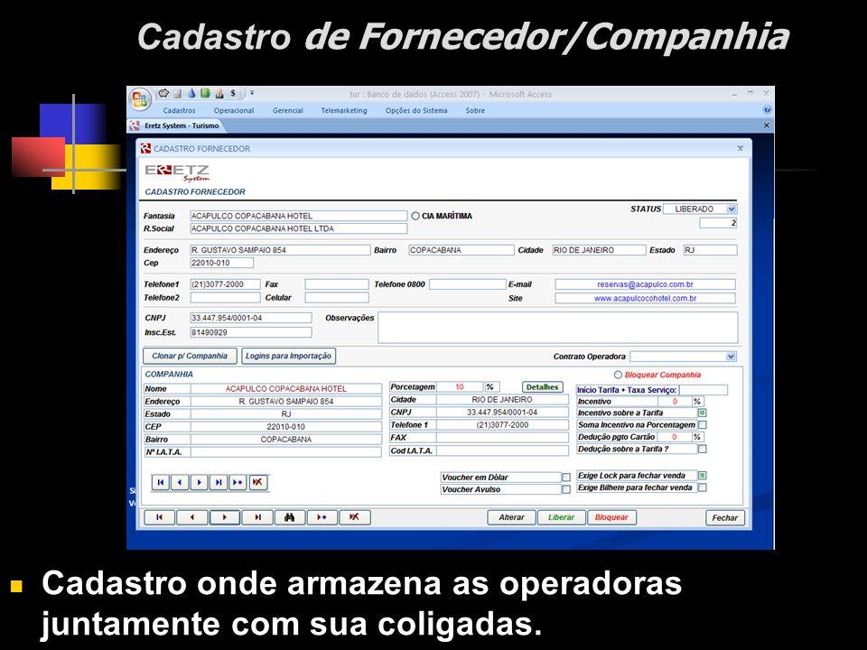 Cadastro de Fornecedor/Companhia