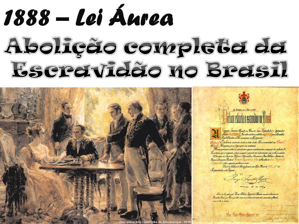 1888 – Lei Áurea Abolição completa da Escravidão no Brasil