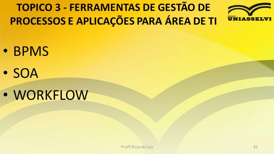 TOPICO 3 - FERRAMENTAS DE GESTÃO DE PROCESSOS E APLICAÇÕES PARA ÁREA DE TI