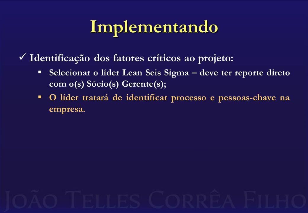 Implementando Identificação dos fatores críticos ao projeto: