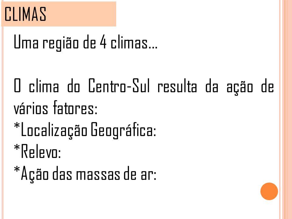 CLIMAS Uma região de 4 climas... O clima do Centro-Sul resulta da ação de vários fatores: *Localização Geográfica: