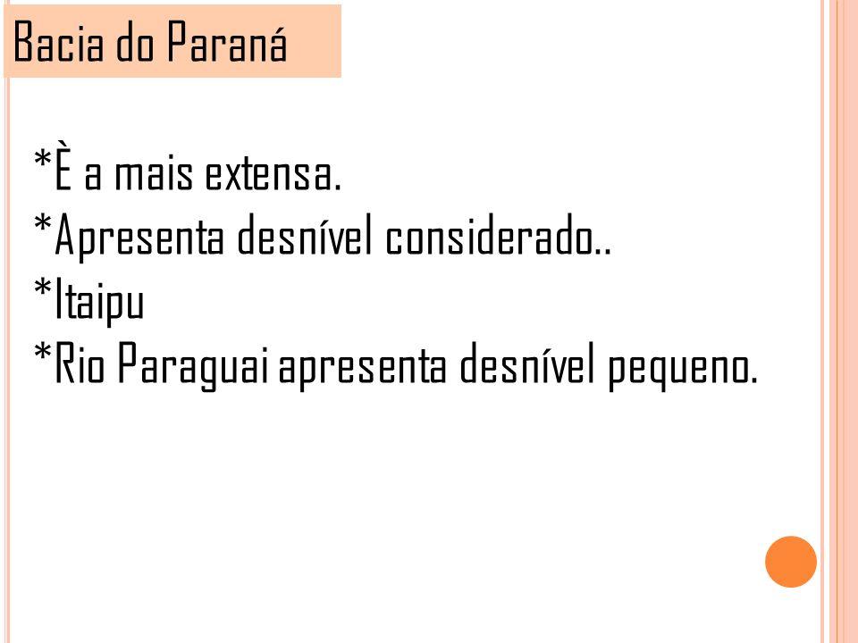 Bacia do Paraná *È a mais extensa. *Apresenta desnível considerado..