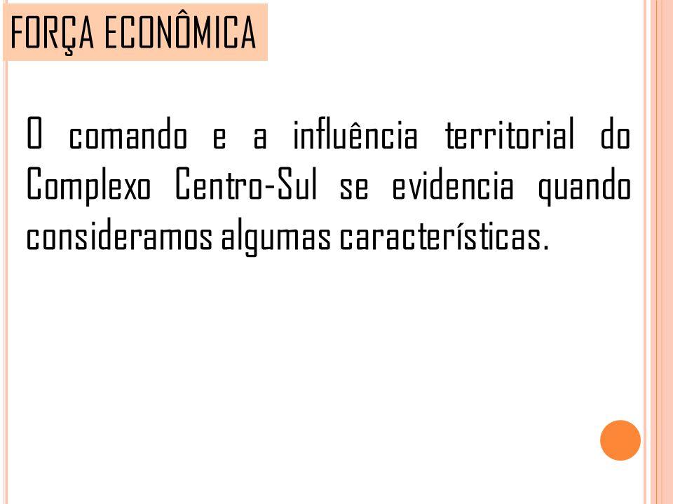 FORÇA ECONÔMICA O comando e a influência territorial do Complexo Centro-Sul se evidencia quando consideramos algumas características.
