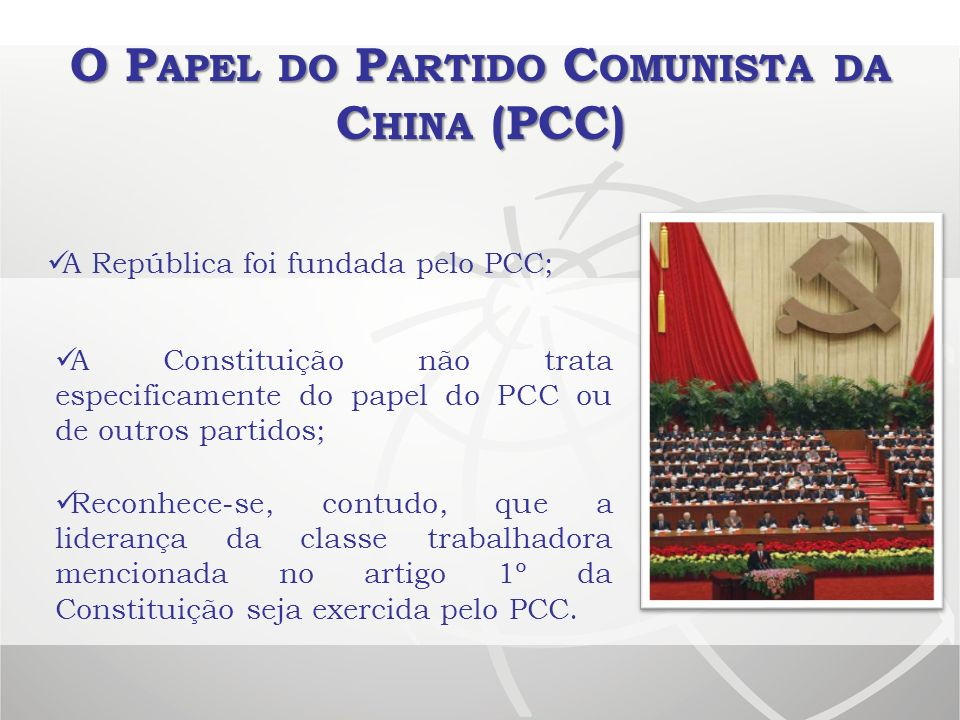 O Papel do Partido Comunista da China (PCC)