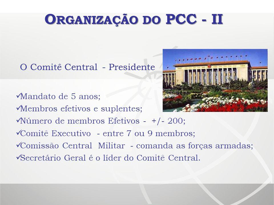 Organização do PCC - II O Comitê Central - Presidente
