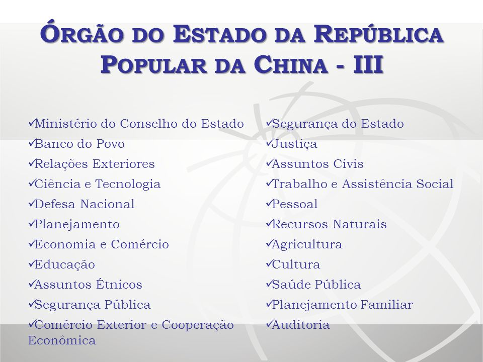 Órgão do Estado da República Popular da China - III