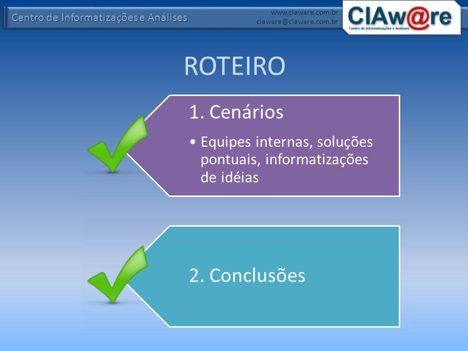 ROTEIRO 1. Cenários Equipes internas, soluções pontuais, informatizações de idéias 2. Conclusões