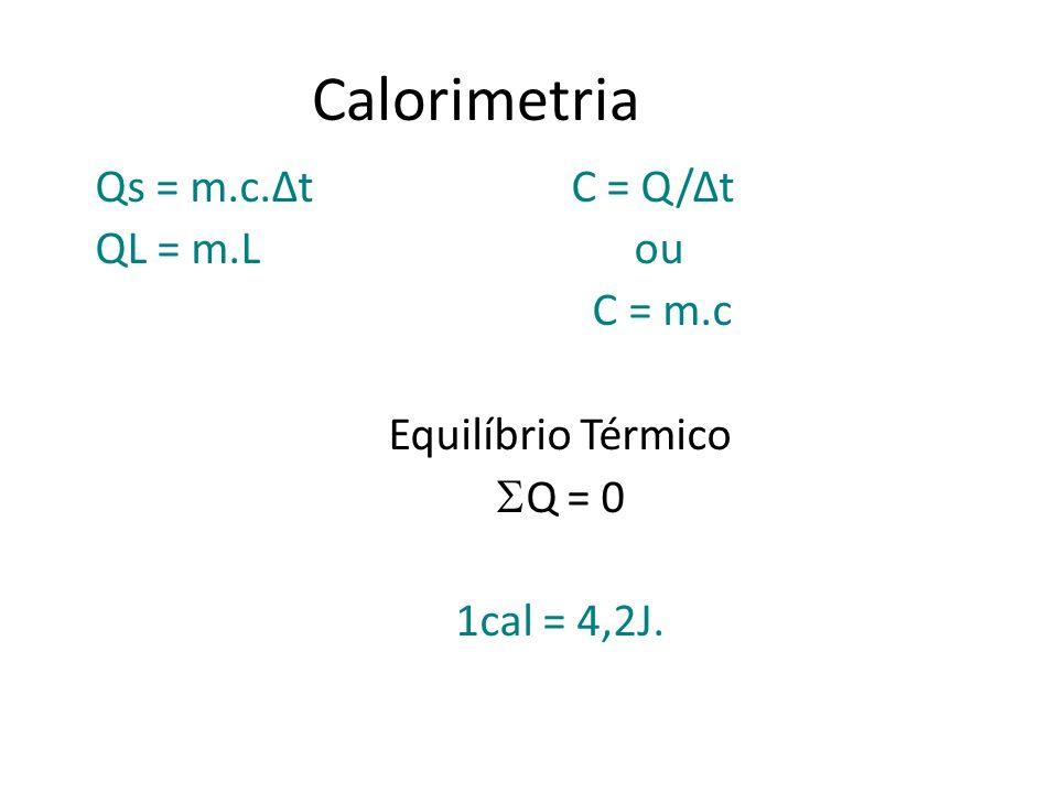 Calorimetria Qs = m.c.Δt C = Q/Δt QL = m.L ou C = m.c