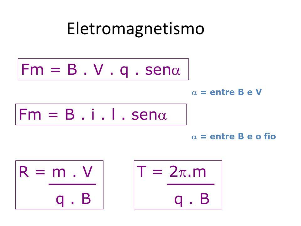 Eletromagnetismo Fm = B . V . q . sen Fm = B . i . l . sen R = m . V