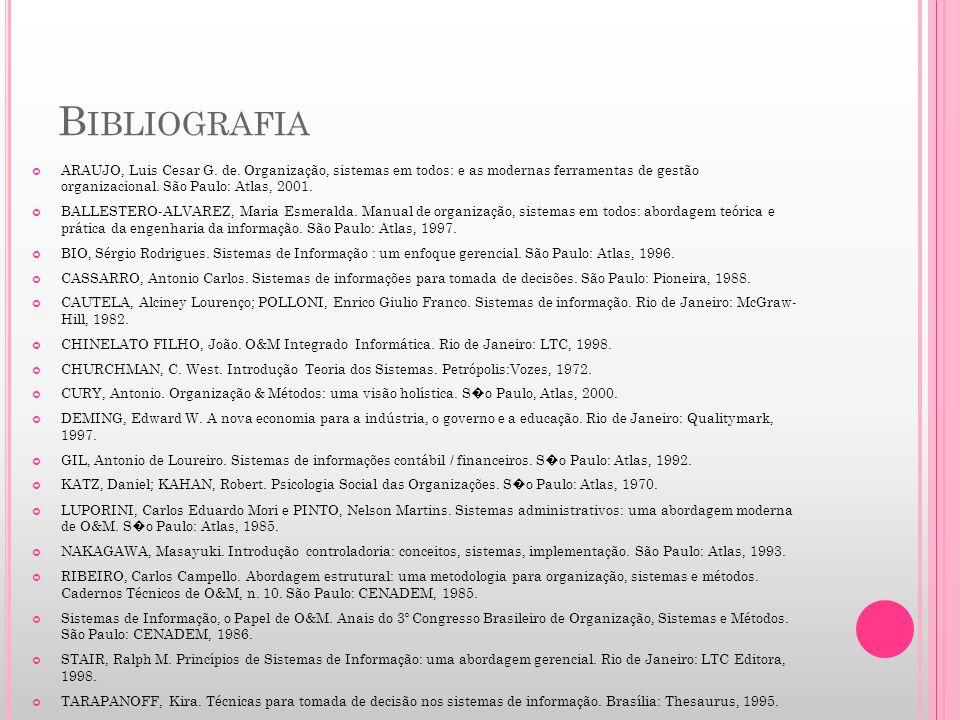 Bibliografia ARAUJO, Luis Cesar G. de. Organização, sistemas em todos: e as modernas ferramentas de gestão organizacional. São Paulo: Atlas, 2001.