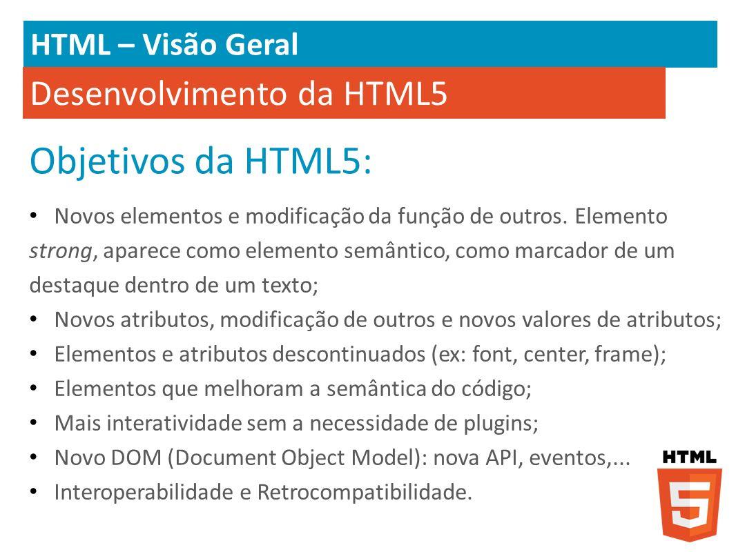 Objetivos da HTML5: Desenvolvimento da HTML5 HTML – Visão Geral