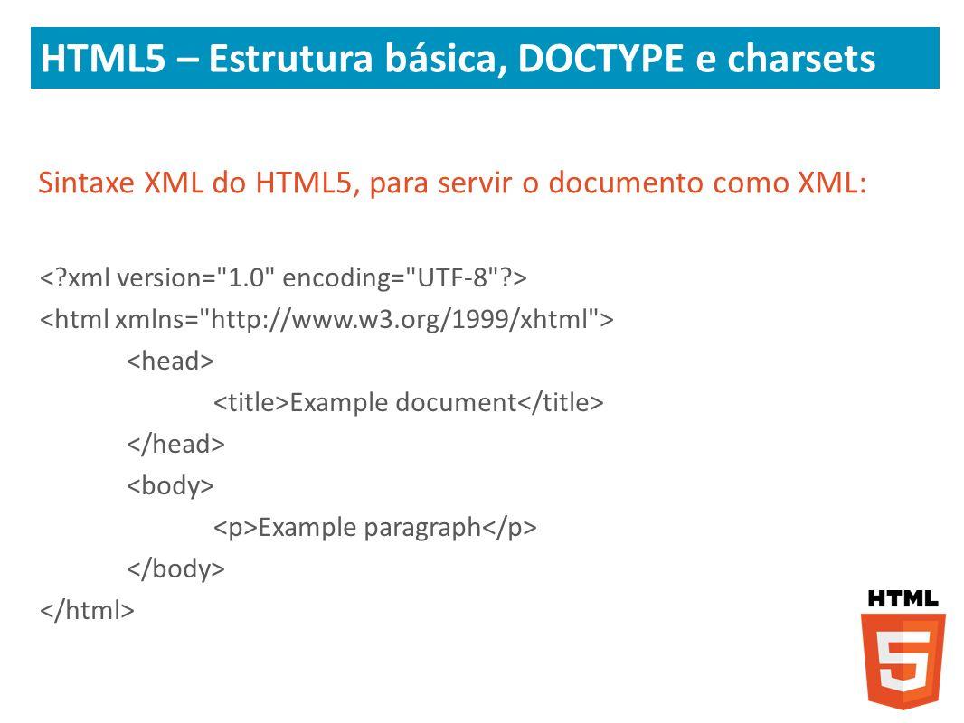 HTML5 – Estrutura básica, DOCTYPE e charsets