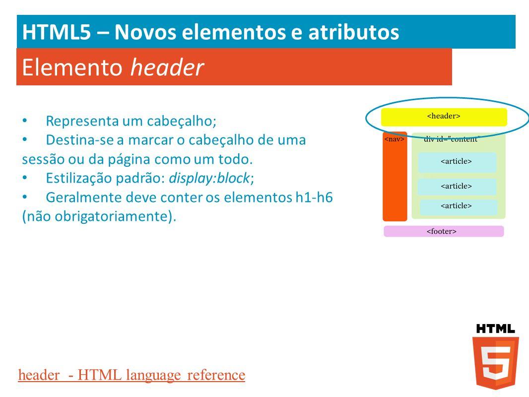 Elemento header HTML5 – Novos elementos e atributos