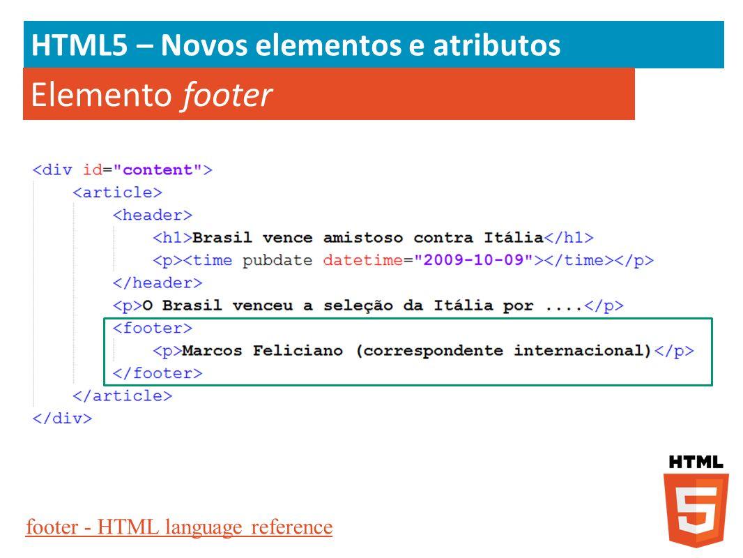 Elemento footer HTML5 – Novos elementos e atributos