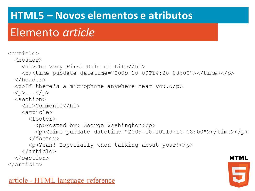 Elemento article HTML5 – Novos elementos e atributos