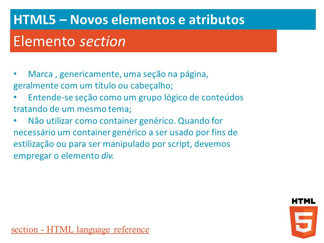 Elemento section HTML5 – Novos elementos e atributos