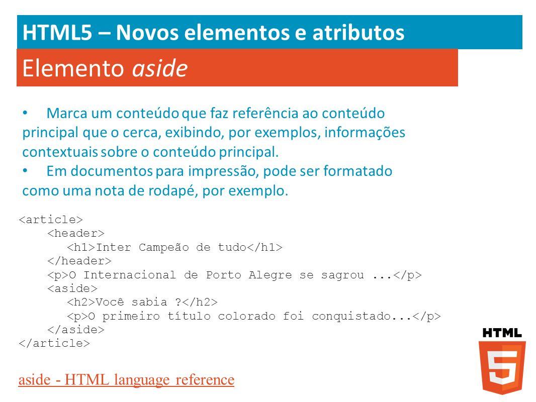 Elemento aside HTML5 – Novos elementos e atributos