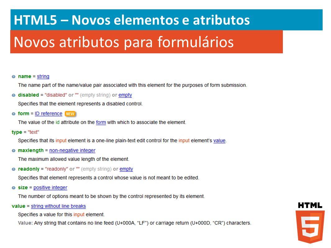 Novos atributos para formulários