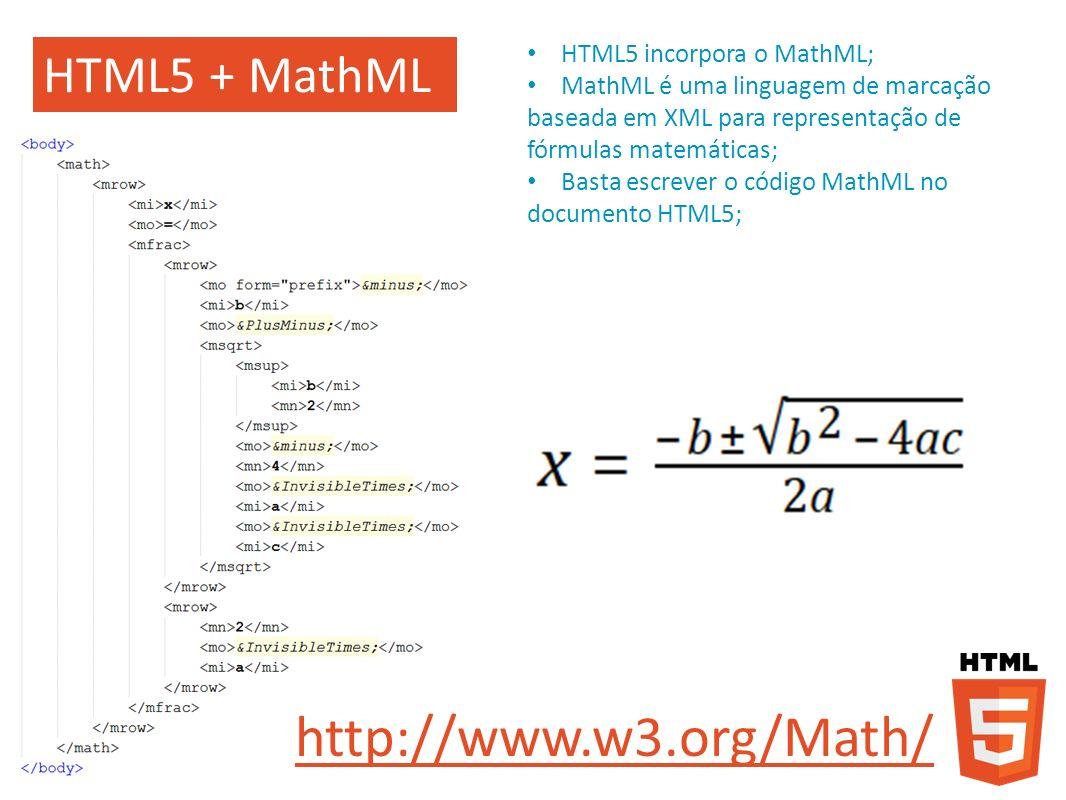 http://www.w3.org/Math/ HTML5 + MathML HTML5 incorpora o MathML;
