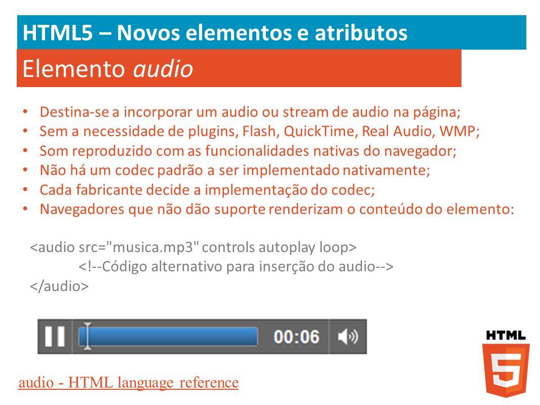 Elemento audio HTML5 – Novos elementos e atributos