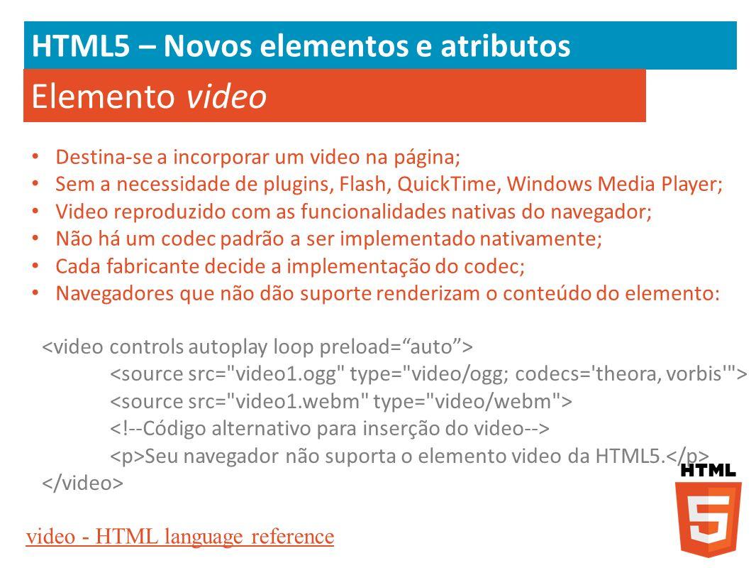 Elemento video HTML5 – Novos elementos e atributos