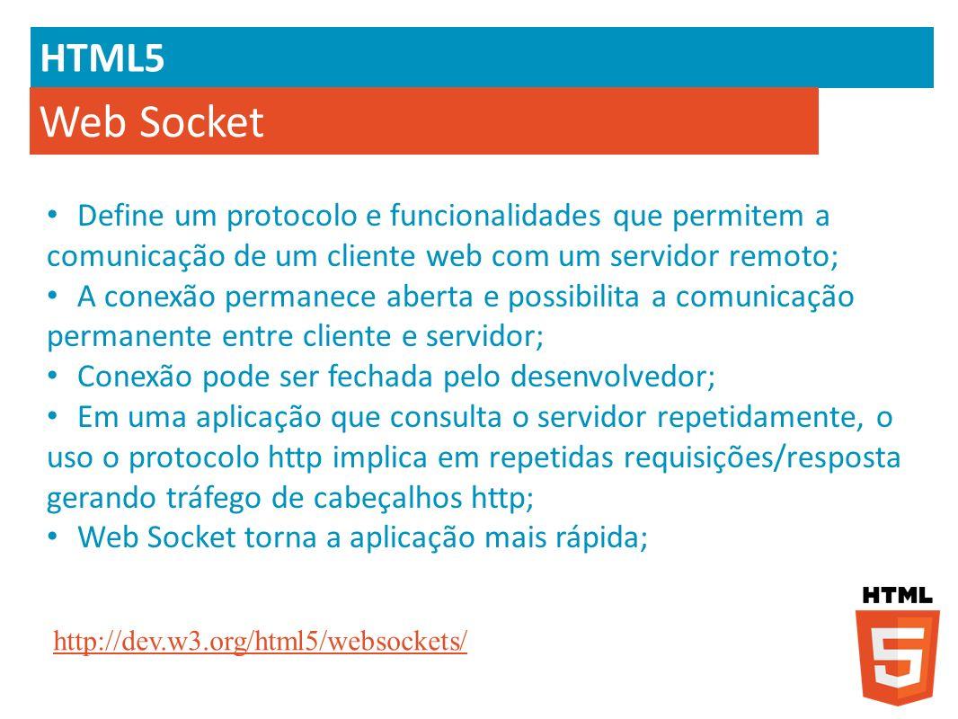 HTML5 Web Socket. Define um protocolo e funcionalidades que permitem a comunicação de um cliente web com um servidor remoto;