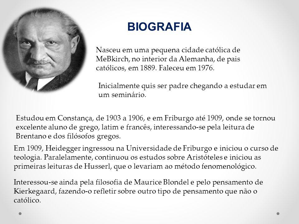 BIOGRAFIA Nasceu em uma pequena cidade católica de MeBkirch, no interior da Alemanha, de pais católicos, em 1889. Faleceu em 1976.