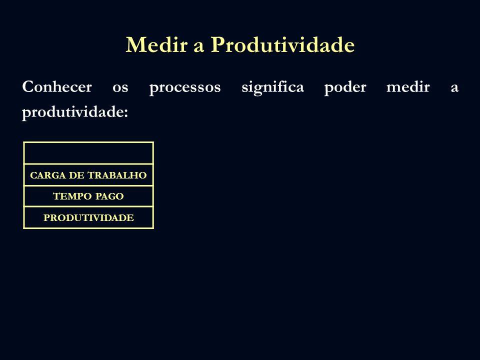 Medir a Produtividade Conhecer os processos significa poder medir a produtividade: CARGA DE TRABALHO.