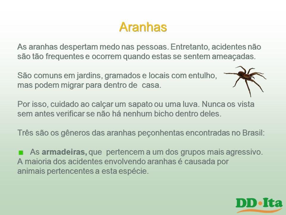 Aranhas As aranhas despertam medo nas pessoas. Entretanto, acidentes não. são tão frequentes e ocorrem quando estas se sentem ameaçadas.