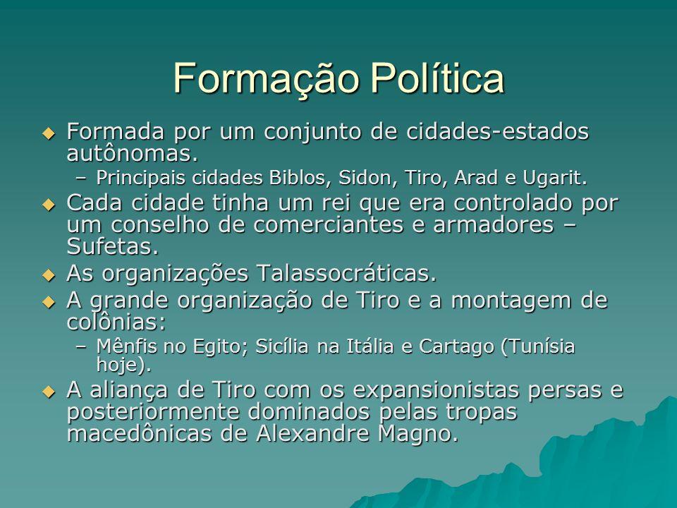 Formação Política Formada por um conjunto de cidades-estados autônomas. Principais cidades Biblos, Sidon, Tiro, Arad e Ugarit.