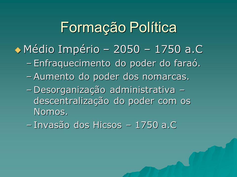 Formação Política Médio Império – 2050 – 1750 a.C