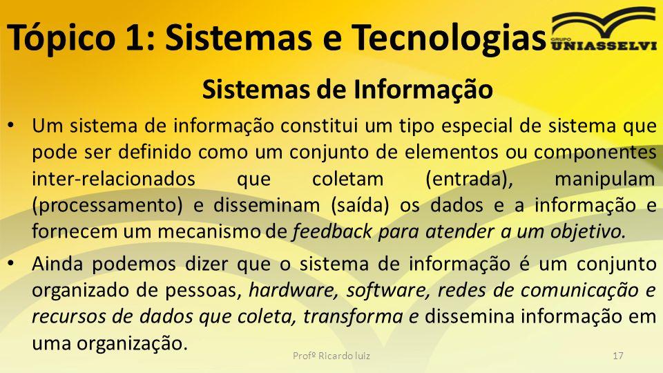 Tópico 1: Sistemas e Tecnologias