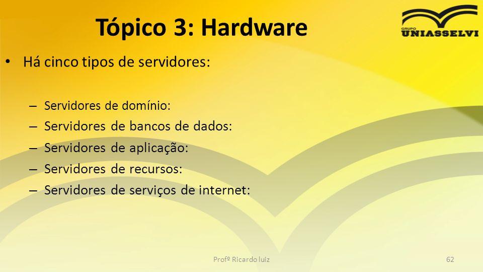 Tópico 3: Hardware Há cinco tipos de servidores: