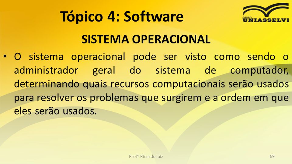 Tópico 4: Software SISTEMA OPERACIONAL
