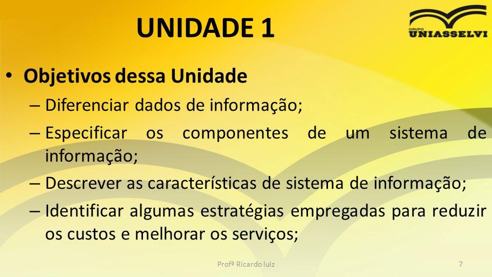 UNIDADE 1 Objetivos dessa Unidade Diferenciar dados de informação;